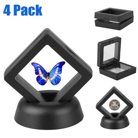 - 2pcs Square 3D Albums Floating Coin Display Frame Holder Box Case w/ Stand Black