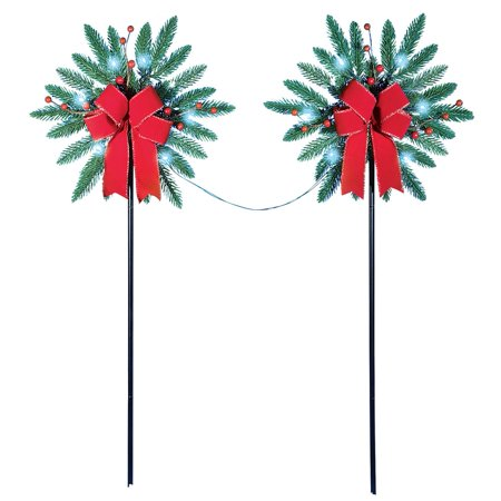 Pine Snowflake with Bow and Berry Accents Solar Christmas Path Lights, Outdoor Garden - Outdoor Christmas