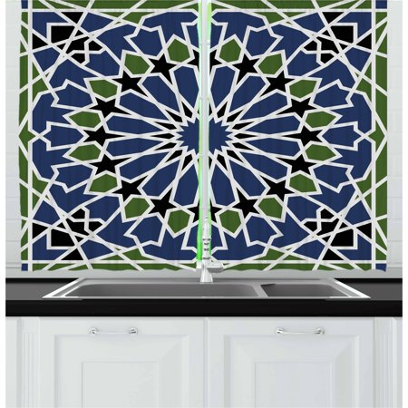 Designer Inspired Olive (Arabic Curtains 2 Panels Set, Mandala Inspired Arabesque Floral Figure Oriental Antique Design, Window Drapes for Living Room Bedroom, 55W X 39L Inches, Dark Blue Olive Green Black, by Ambesonne)
