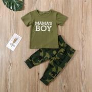 Newborn Toddler Baby Boy Girl Summer Short Sleeve Letter Print Outfits T-shirt +Pants 2pcs Clothes