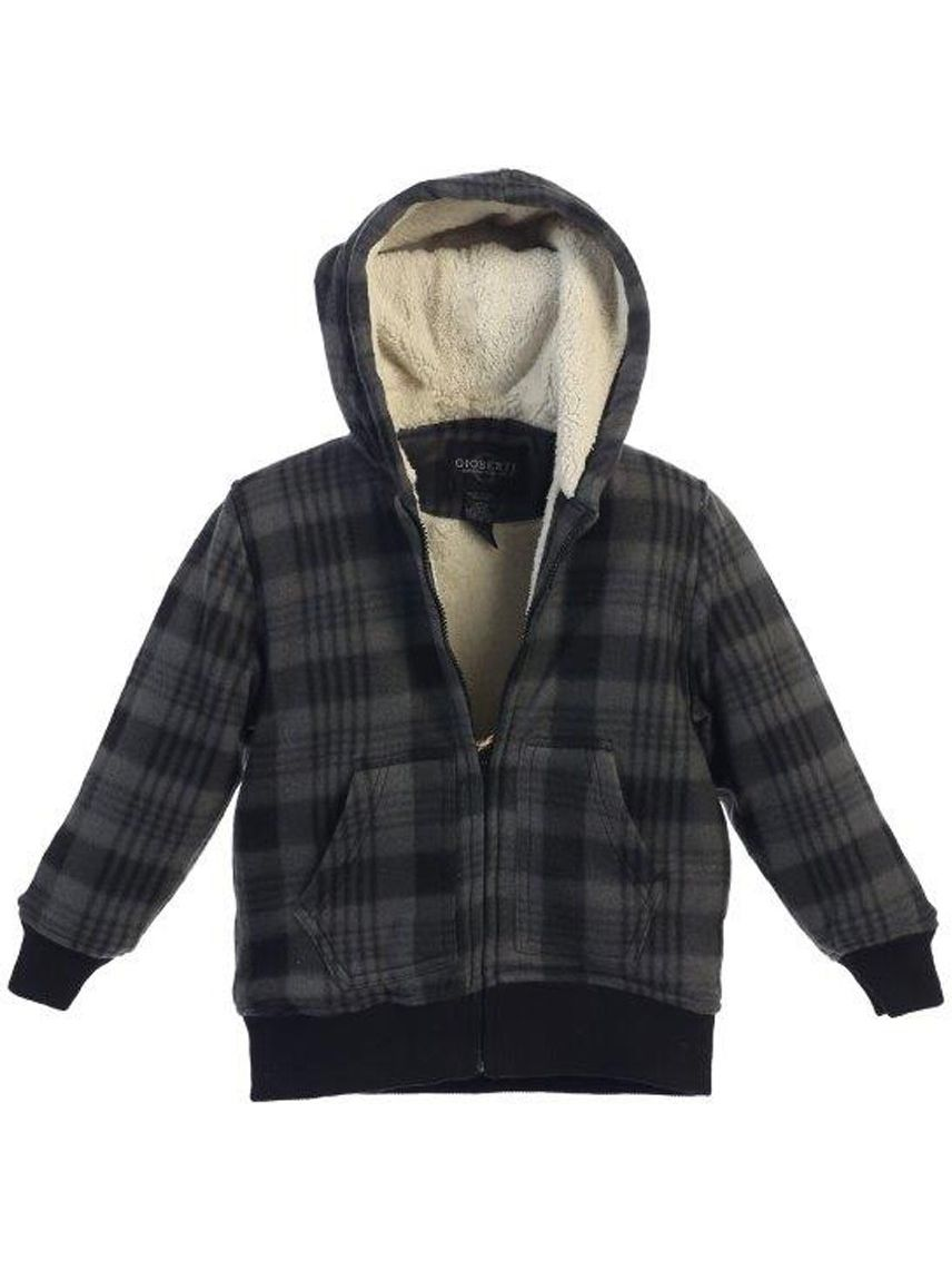 Little Boys Grey Checkered Sherpa Lining Hooded Flannel Jacket 4-7