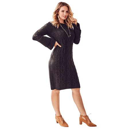 Roaman\'s Plus Size Sweater Dress With Tiered Bell Sleeves