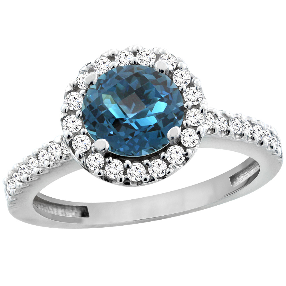 14K White Gold Natural London Blue Topaz Ring Round 6mm Floating Halo Diamond, size 6 by Gabriella Gold