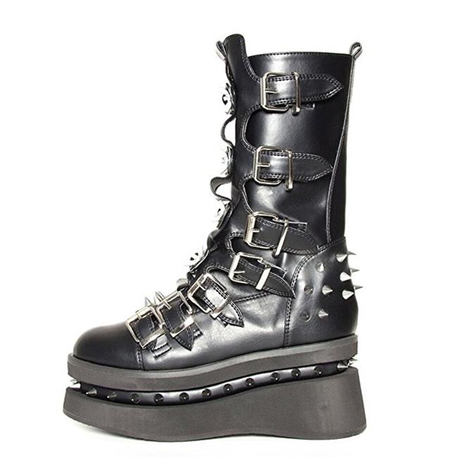 STETCHEN-BLK-7 Womens Black Platform Boot with Seven Buckle Straps Shoe, Black Womens - Size 7 61bb1d