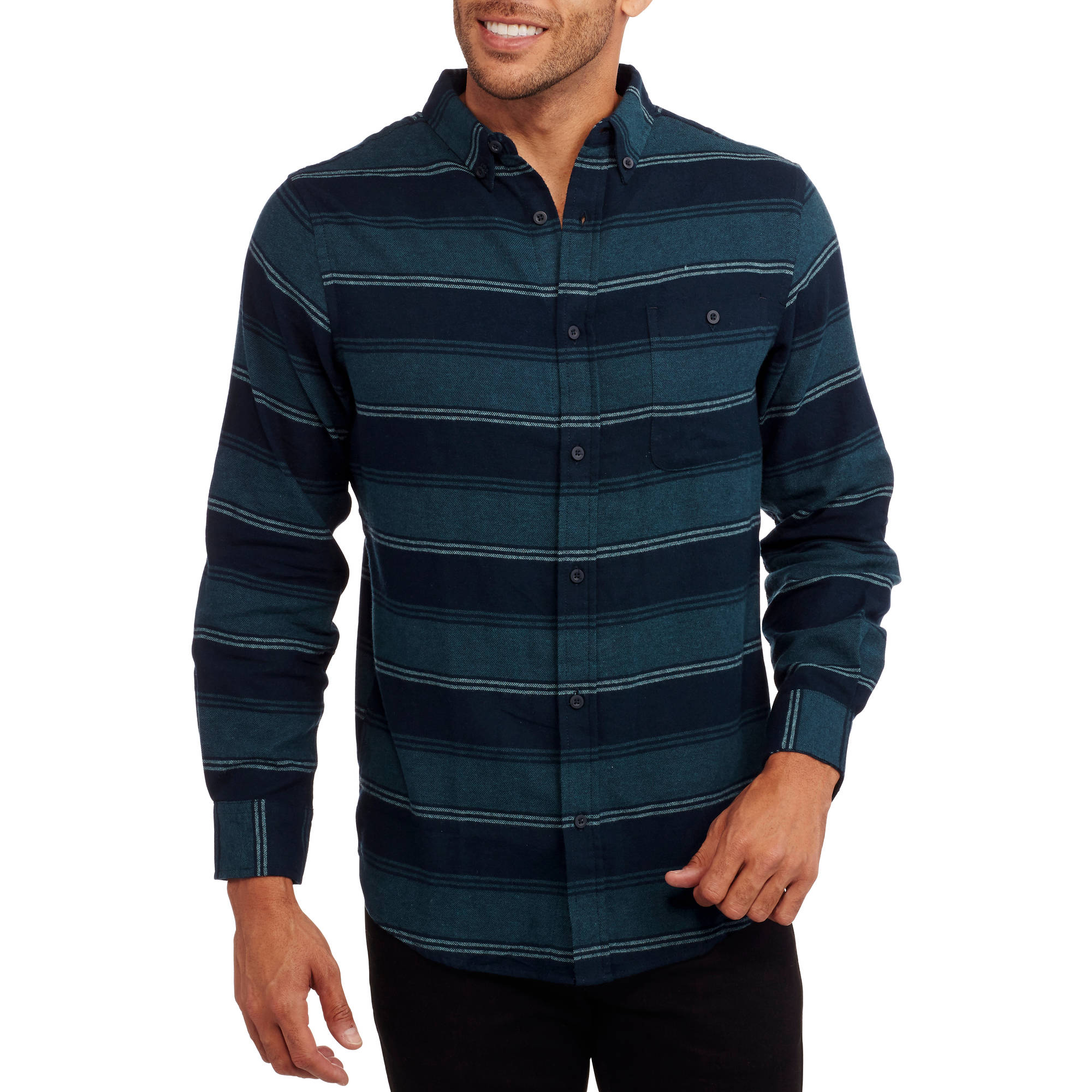 Straight Faded Men's Stripe Flannel Shirt