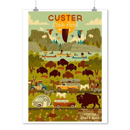 Custer State Park, South Dakota - Geometric - Lantern Press Artwork (9x12 Art Print, Wall Decor Travel (Custer State Park Buffalo)