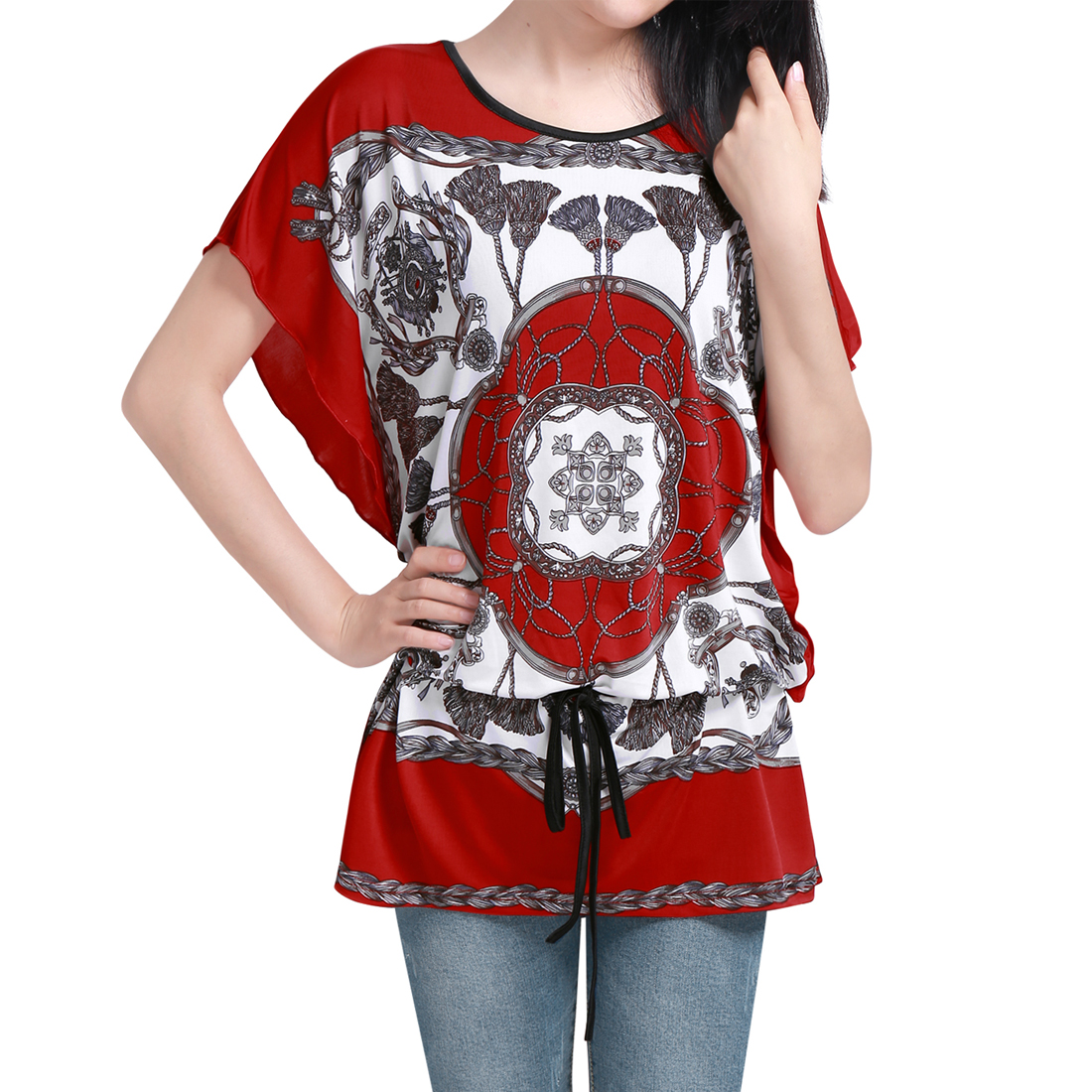 5715 Women Round Neck Batwing Sleeve Semi Sheer Pullover Tunic Shirt