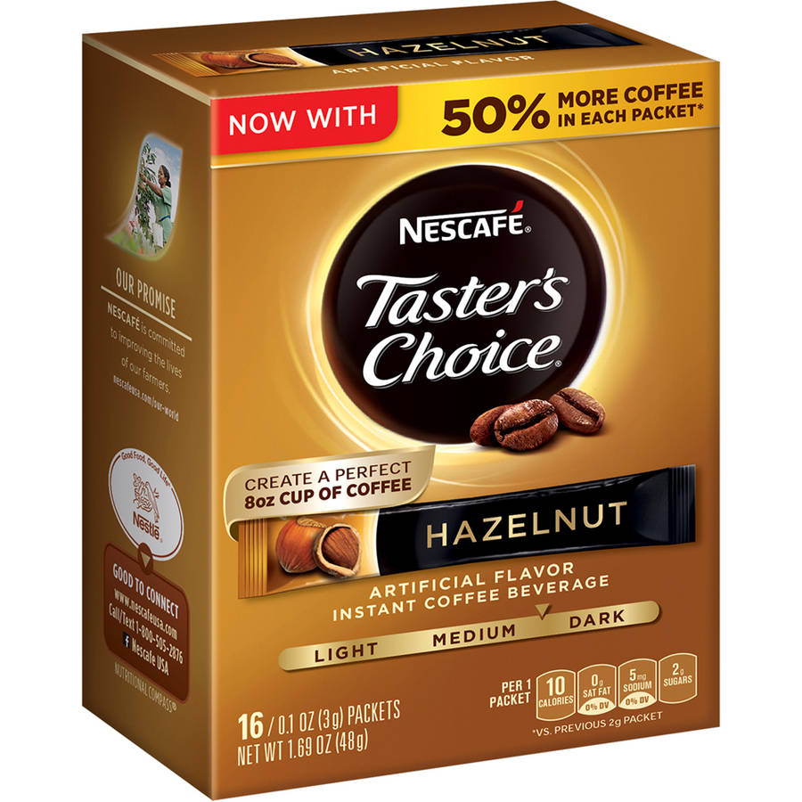 Nescafe Taster's Choice Hazelnut Instant Coffee Beverage Single Serve Packets, 0.1 oz, 16 count