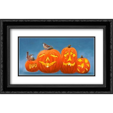 Halloween Pumpkins 2x Matted 24x16 Black Ornate Framed Art Print by Peterson, Julie - Julie Ann Art Halloween Costumes