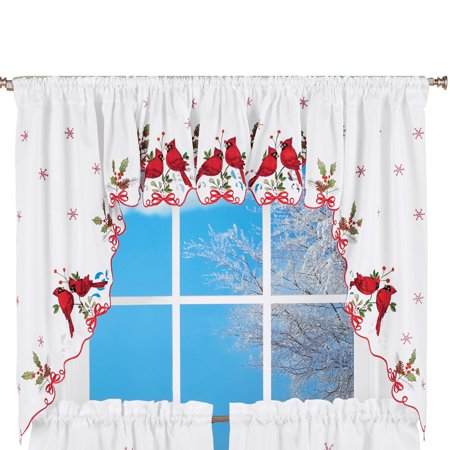 Embroidered Winter Cardinals Window Curtain Panels Collection, Red, Green and White Christmas Accents, (Collection Green)