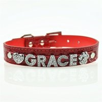 Personalized 10MM 5 Pcs Alphabet Reflective Leather Bling Rhinestone Pet Puppy Collar - Red XS Grace