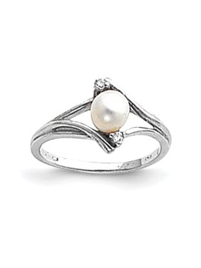 14k White Gold 5mm Freshwater Cultured Pearl Diamond ring. Carat Wt- 0.028ct