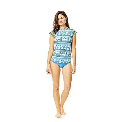 carve designs women's belles beach rashguard, reed parisio w. canyon stripe, x-small by