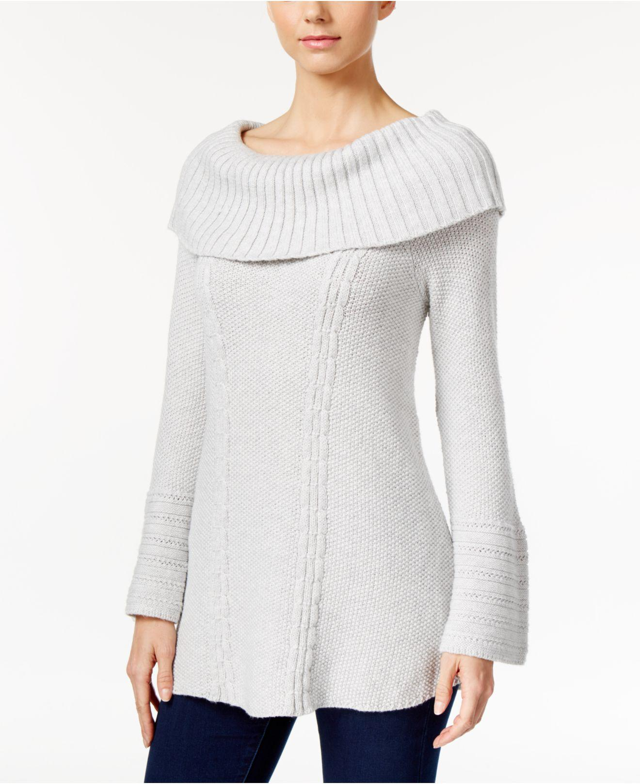 Style Co Petite Lace-Hem Bell-Sleeve Sweater Warm Ivory PL