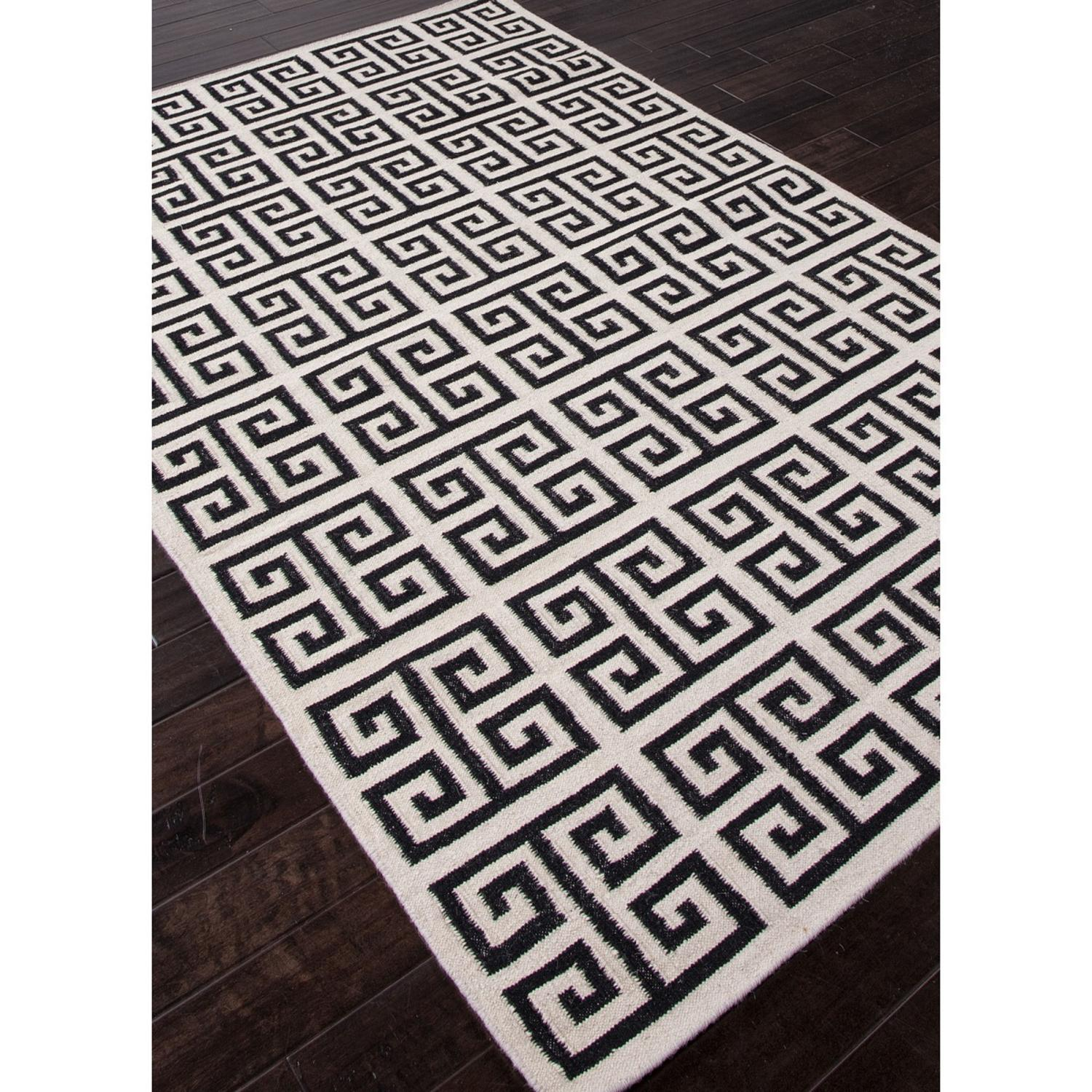 9 X 12 Ebony Black And Ivory Cream Melina Flat Weave Greek Key Design Wool Area Throw Rug
