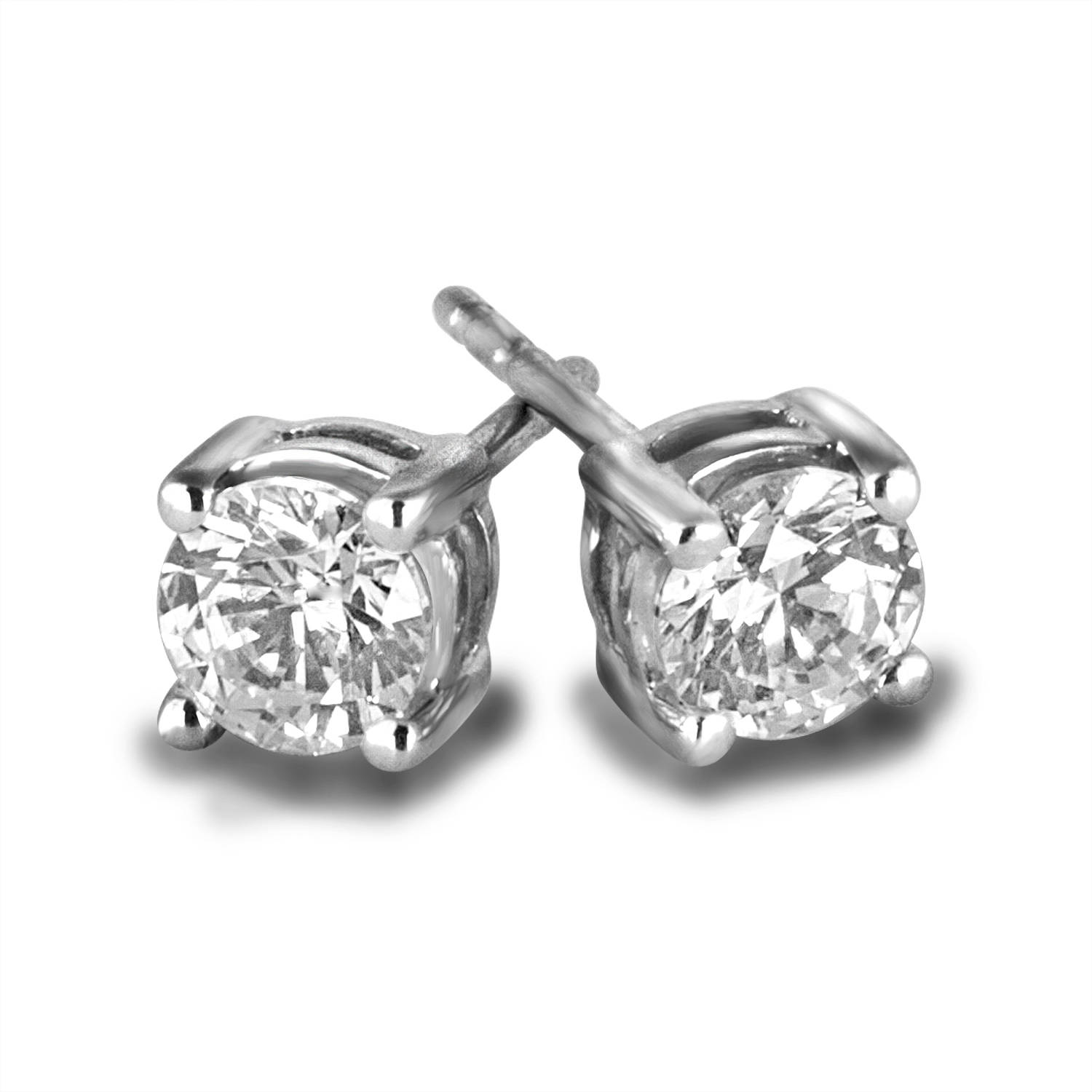 3/4 Carat T.W. Round Diamond 10kt White Gold Stud Earrings