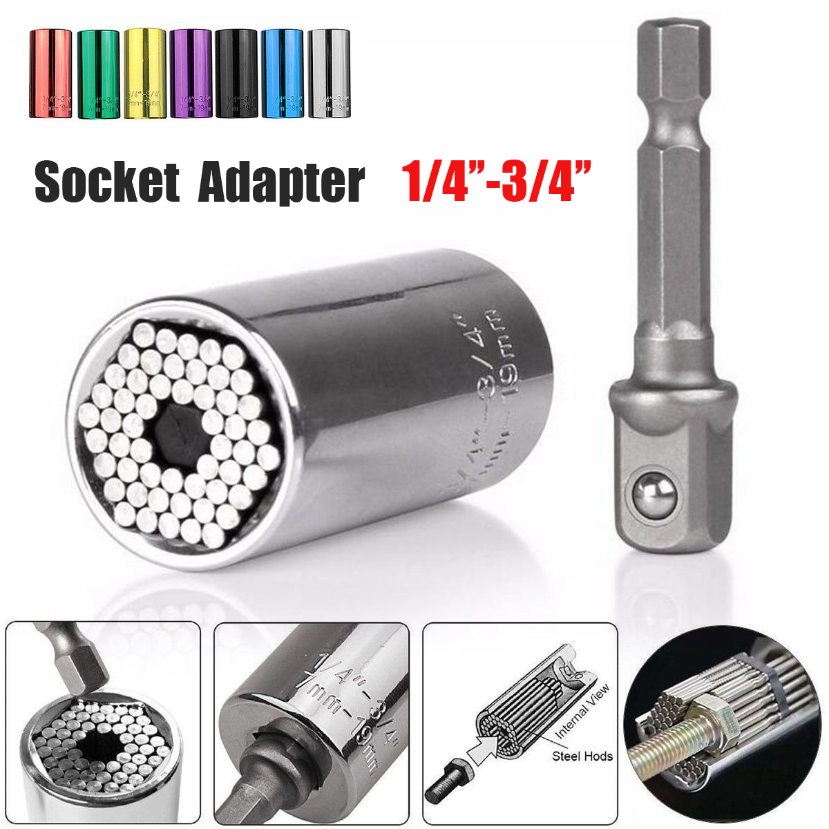 1Pcs Ratchet Universal mechanictool Sockets Metric Wrench with Power Drill Adapter Universal Repair Tools 7mm to 19mm
