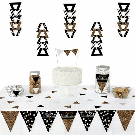 Adult Happy Birthday - Gold - Triangle Birthday Party Decoration Kit - 72 Pieces
