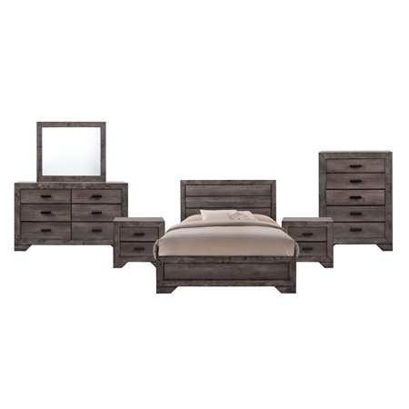 Picket House Furnishings Grayson Queen Panel 6pc Bedroom Set, Grey Oak ()