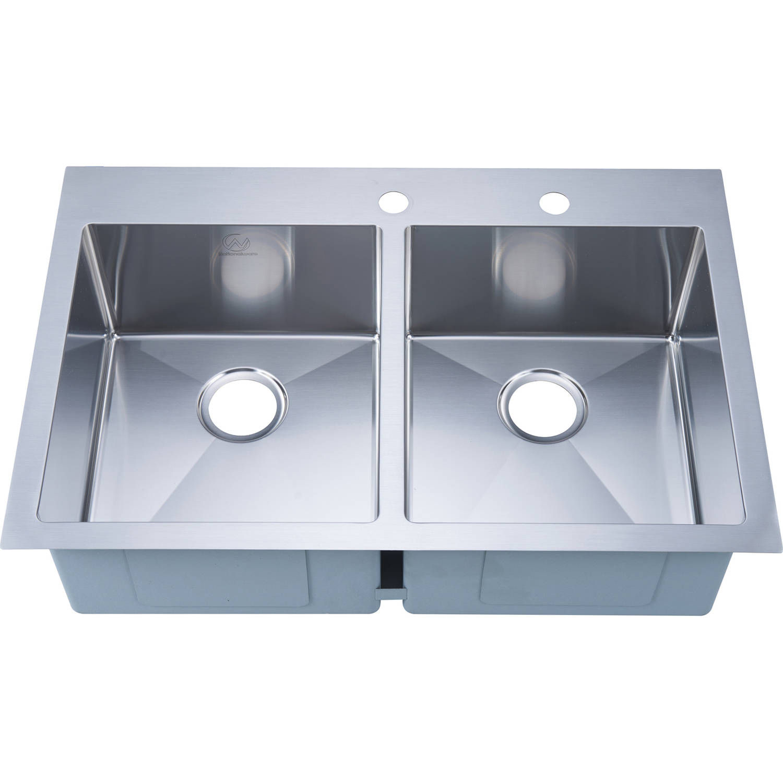 Nationalware 16 Gauge Stainless Steel 33 Inch Double Basin Overmount Kitchen Sink Walmart Com Walmart Com