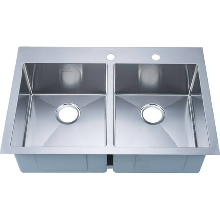 Nationalware 16-gauge Stainless Steel 33-inch Double Basin Overmount Kitchen Sink