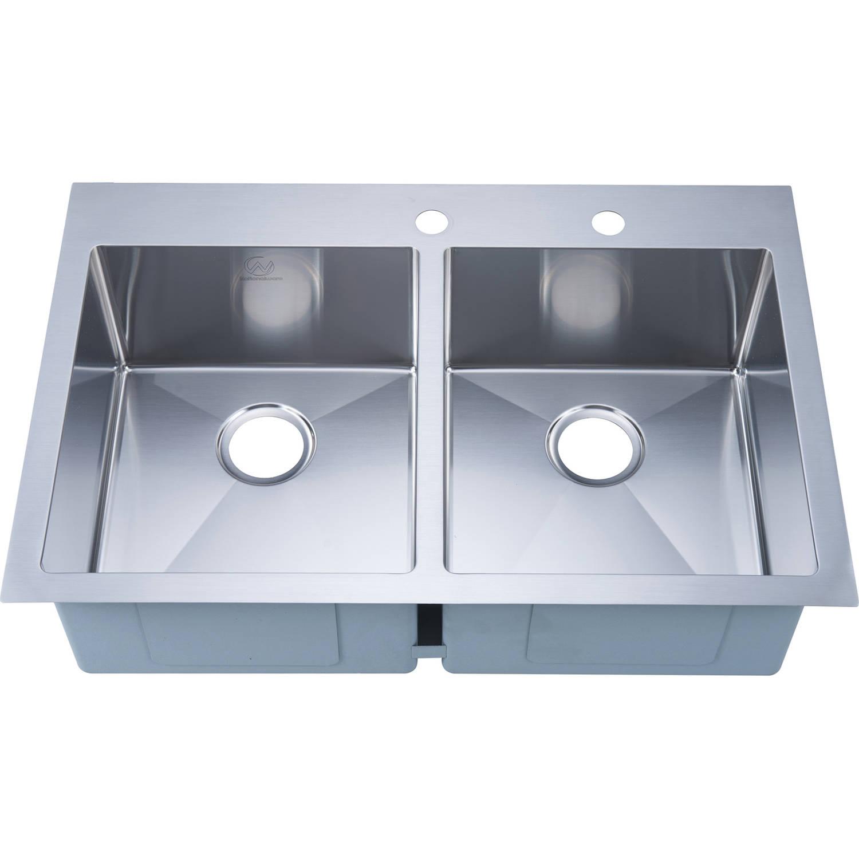 Nationalware 16-gauge Stainless Steel 33-inch Double Basin Overmount Kitchen Sink