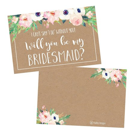 15 Rusic Floral Will You Be My Bridesmaid Cards Kraft Flowers, I Can't Say I Do Without You, Proposal Note For Gifts, Blank Ask To Be Your Bridesmaids Invitations Set, Asking A Bridesmaid Invite](Bridesmaid Gift Sets)