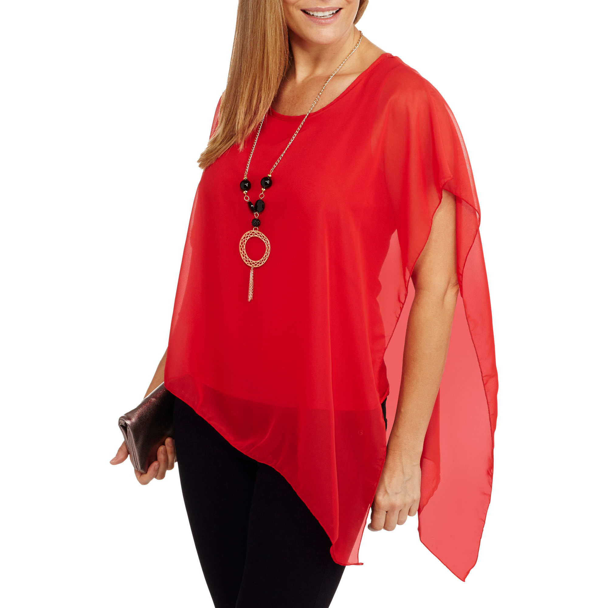 9th Street Apparel Women's Relaxed Fit Chiffon Necklace Blouse