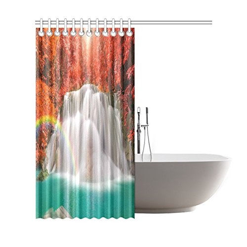 GCKG Fall Red Leaf Trees Shower Curtain, Wounderful Waterfall Rainbow Polyester Fabric Shower Curtain Bathroom Sets with Hooks 66x72 Inches - image 1 of 3