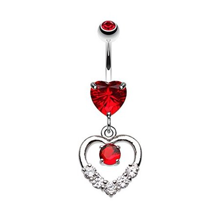 Lusterous Double Heart Wildklass Belly Button Ring