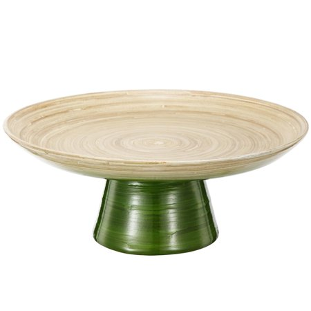 "Image of 12"" Green and Tan Decorative Ombre Dynasty Bamboo Presentation Pedestal Tray"
