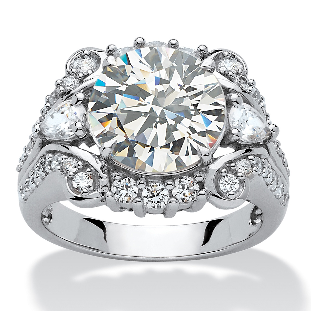 4.88 TCW Round Cubic Zirconia Platinum over Sterling Silver Engagement Anniversary Ring - Size 8