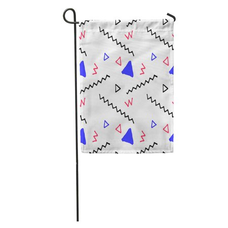 SIDONKU Doodle in Nautical Palette Pattern Colors Child Drawing Abstract Handdrawn Garden Flag Decorative Flag House Banner 12x18 inch ()