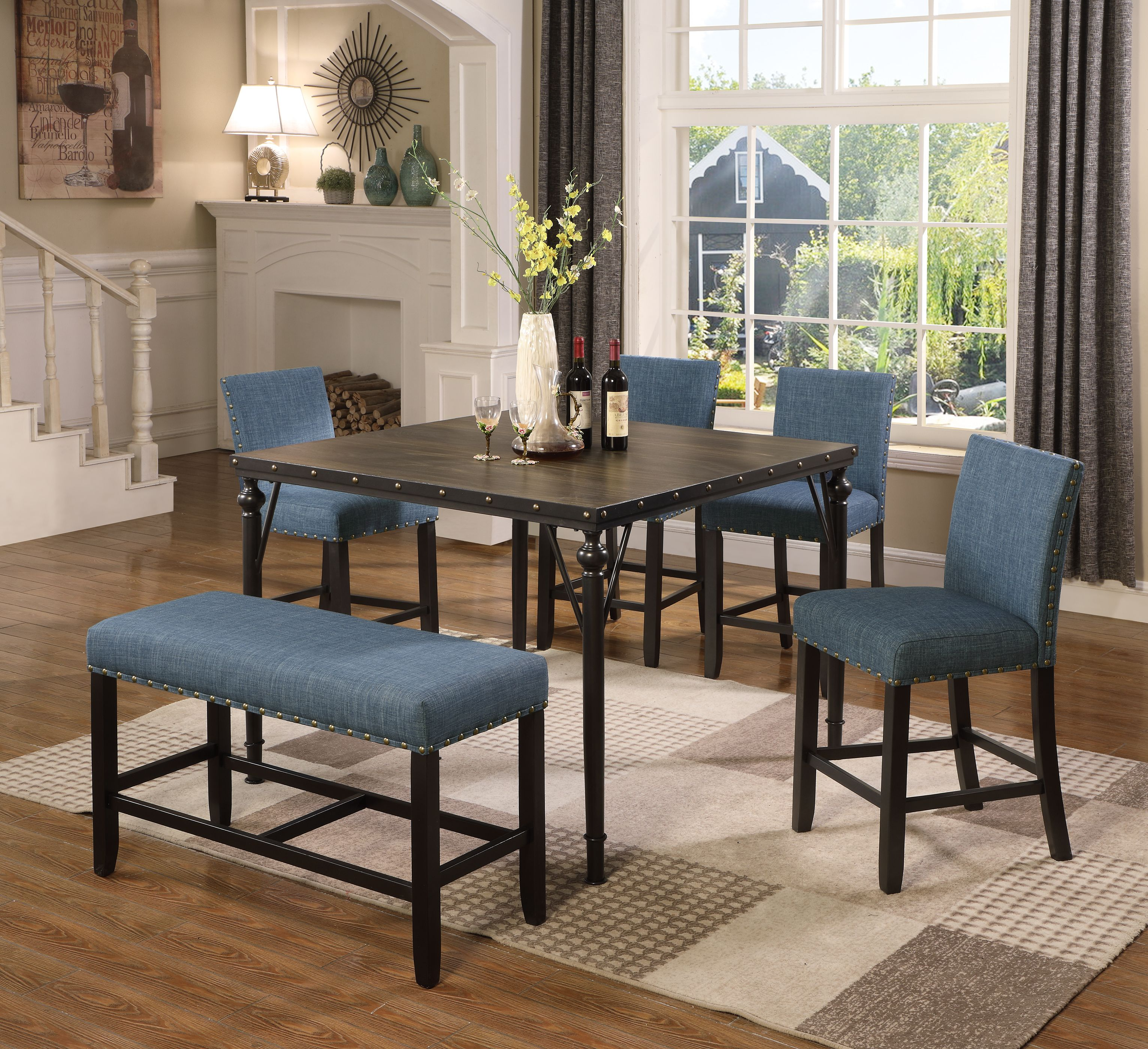 Roundhill Biony Counter Height 6 Piece Espresso Wood Dining Set With Blue Fabric Nailhead Chairs And Pub Bench Walmart Com Walmart Com