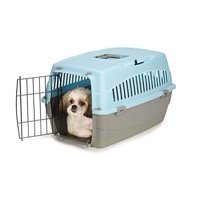Small Dog Cat Pet Travel Crate Lightweight Pet Carrier Plastic & Wire Kennel Cab(Medium Bluebell)