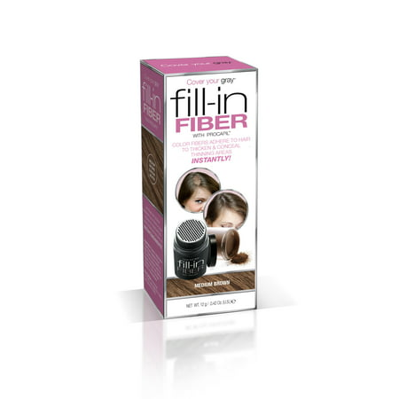 Cover Your Gray Fill-In Hair Building Fibers- MEDIUM BROWN: Hair Fibers for Thinning Hair, Hair Powder for Bald Spots, Baldness Cover up, Beard Filler, Hair