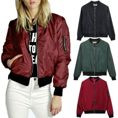 Multitrust Ladies Womens Classic Casual Bomber Jacket Vintage Zip Up Biker Coat