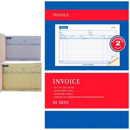 Professional Invoice - Carbonless Invoice Receipt Record Book 2 Part 50 Sets Duplicate Receipt Copy