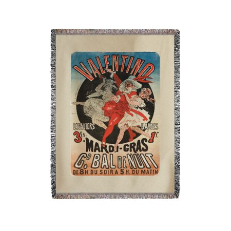 Valentino - Mardi - Gras Vintage Poster (artist: Cheret) France c. 1872 (60x80 Woven Chenille Yarn Blanket)](Mardi Gras Throws)