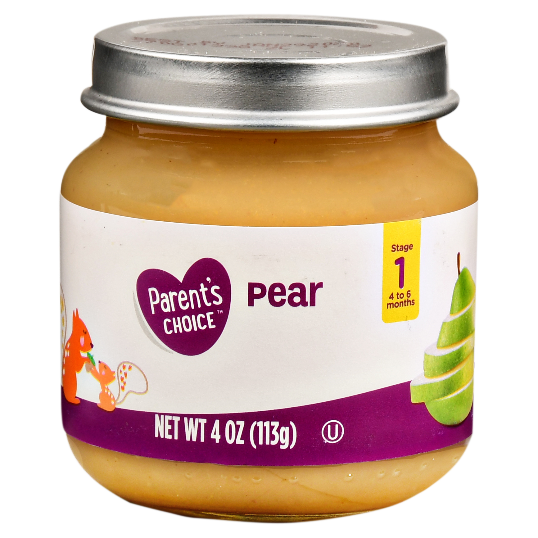Parent's Choice Baby Food, Pear, Stage 1, 4 oz