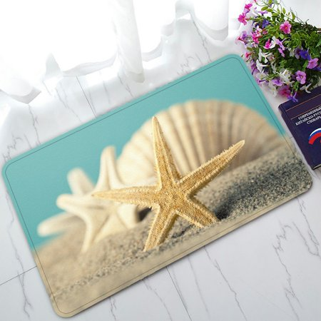 PHFZK Summer Seascape Doormat, Starfish and Seashell on the Sandy Beach Doormat Outdoors/Indoor Doormat Home Floor Mats Rugs Size 30x18 inches for $<!---->