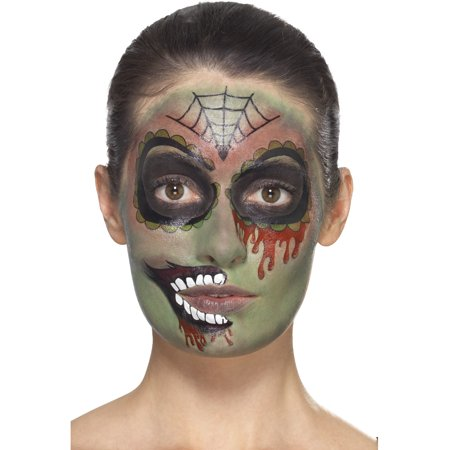 Day Of The Dead Zombie Make-Up Kit With Transfers Costume Accessory - Day Of The Dead Makeup For Guys