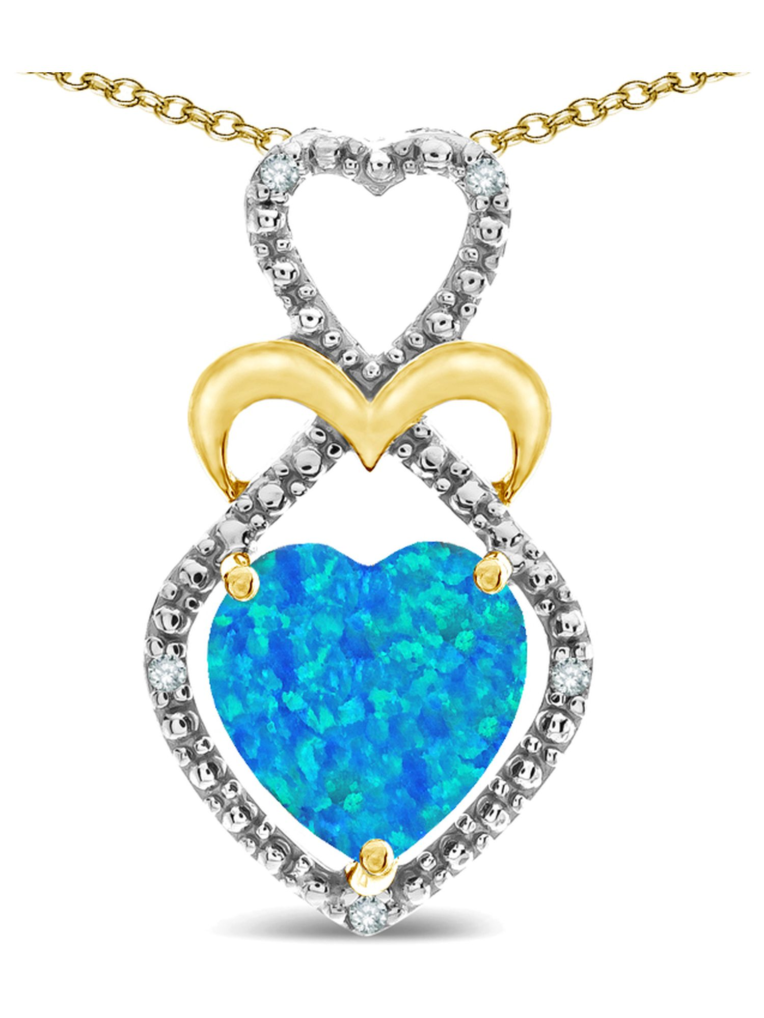 Star K Heart Shape 8mm Blue Created Opal Heart Halo Embrace Pendant Necklace 10k Yellow Gold with Rhodium Finish