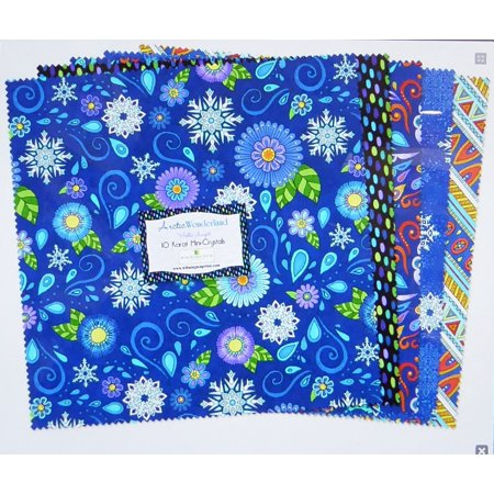 Mini Printed Satin - Arctic Wonderland ~10 Karat Mini Crystals Layer Cake 24, 10'' Cotton Squares  by Wilmington Prints