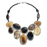 Aeravida Handmade Round Multicolor Black Agate Mosaic Bib Statement Necklace (Thailand)