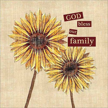 God bless family sunflower burlap tan yellow canvas art - Discount tire garden of the gods ...