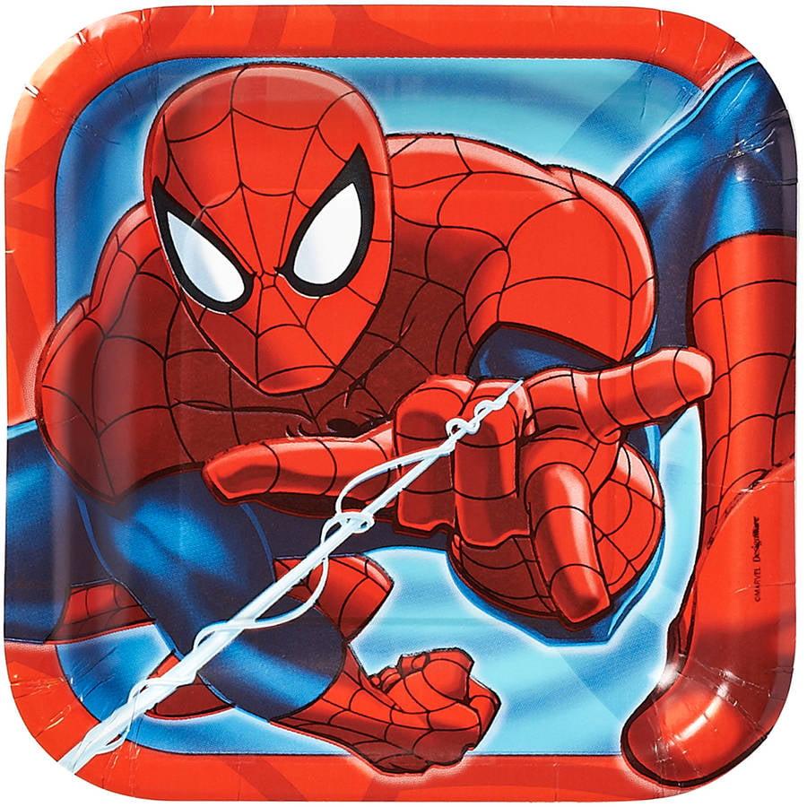 "Marvel Spider-Man 7"" Square Plates, 8 Count, Party Supplies 7SQPLT-23423"