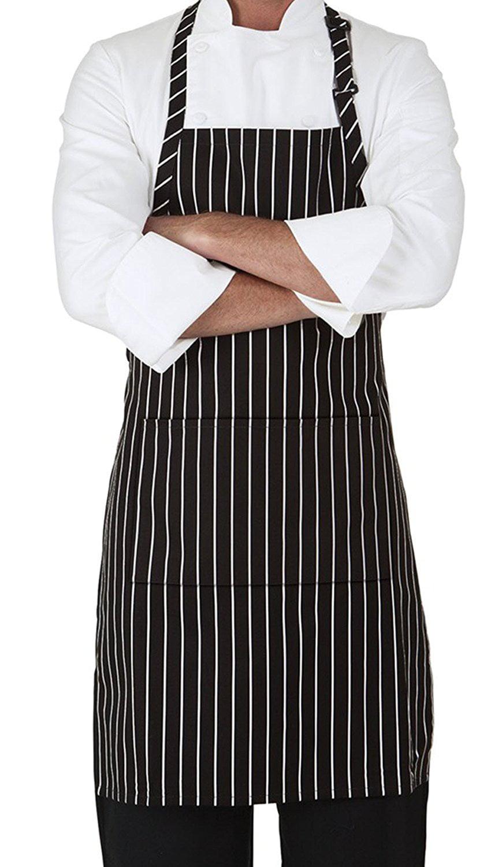 White apron walmart - Mhf Aprons 1 Piece Pack Pinstripe Black White Three Pocket Adjustable Neck Bib