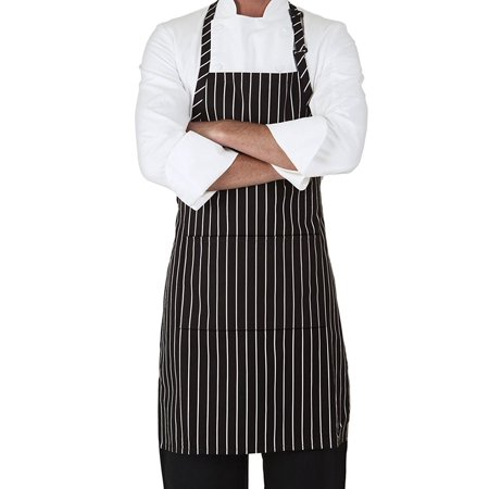 - MHF Aprons-1 Piece Pack-Pinstripe Black/White three pocket Adjustable Neck Bib Apron-Poly Spun for Home/commercial/Restaurant Kitchen