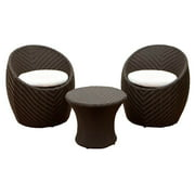 3-Pc Patio Chat Set in Brown and Tan